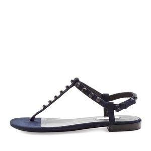 Balenciaga Studded Suede Thong in Black 37.5